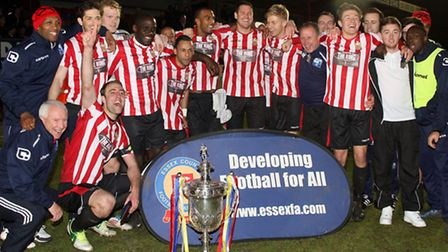 Hornchurch celebrate winning the Essex Senior Cup with a 2-1 victory over Grays Athletic at Dagenham