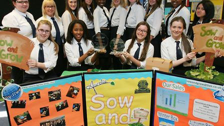 Year 12 start-up Aurelia with display boards for its Sow and Grow boxes