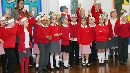 Pupils during the music festival at Rise Park Infants School
