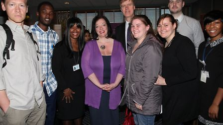 MPs Lyn Brown and Stephen Timms, centre, meet with jobseekers and Newham jobcentre staff at the Jobs
