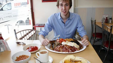 James Schofield before his Man v Food style breakfast challenge at Cafe on the Heath, Gidea Park. Pi