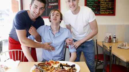 James Schofield after attempting the big breakfast challenge at Cafe on the Heath. With owners Will