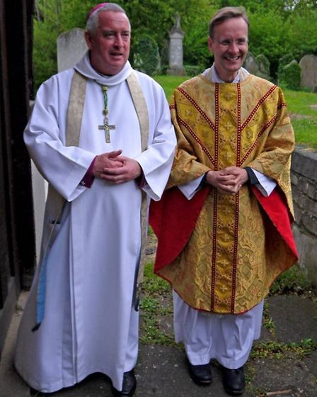 Bishop Graeme Knowles former Dean of St Paul's Cathedral with Revd Quintin Peppiatt t St Mary Magdal