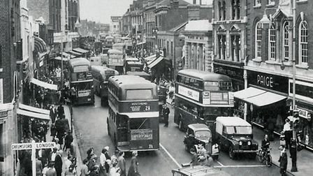 South Street in the 1950s. Credit: 'Reproduced by kind permission of Brian Evans'.