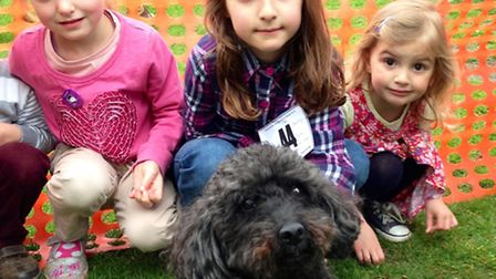 Eva Wells, six, Daisy Boyd, six, and Bea Boyd, three, all of Wanstead with Bea's pet poodle Arther,