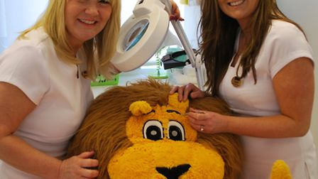 Hospice mascot Frankie the lion is made to look his best by the skydiving Aesthetics of Essex girls,