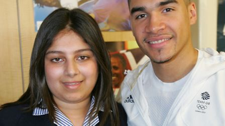 Student Sabah Mohammed with Louis Smith