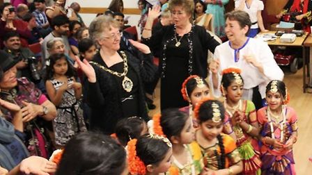The Mayor of Redbridge, Cllr Felicity Banks, joining in with dancing at the Vaani culture night.