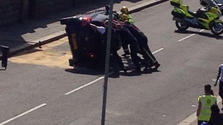 The crash happened this afternoon in Meads Lane, Seven Kings