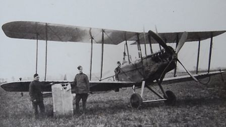 William Leefe-Robinson in the aircraft in which he was shot down in and captured