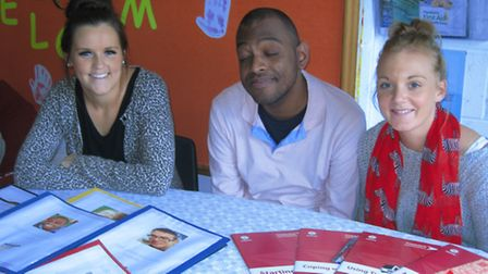 Service users Wilson Barros with support workers Laura and Leanne West
