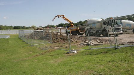 Diggers were used to build the temporary Snoozebox facility