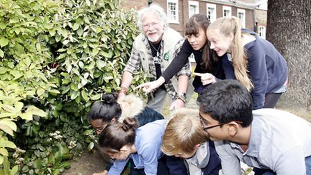 Bill Oddie with year seven pupils at Forest School