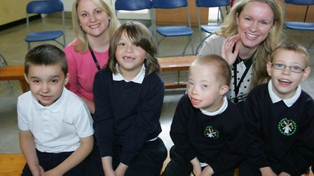 Musicians Sophie Biebuyck and Joanna Marie Skillet with pupils from Corbets Tey school