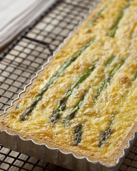 Marcus Bean's Goat's Cheese and Smoked Bacon Quiche. Picture: PA Photo/www.british-asparagus.co.uk.