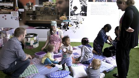 Families gather for East Village's Crafternoon.