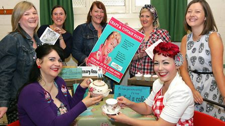[back L-R] Linda Scott, from Hotchpotch House Vintage; Emma Champress, from The Vintage Tearoom; Emm