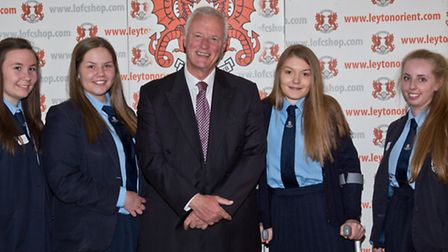 The Sacred Heart of Mary Girl's School winning team with Barry Hearn. Natalie Roberts, Rebecca North