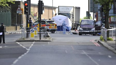 Police activity close to the scene following the attack last Wednesday. Picture: Nick Ansell/PA Wire