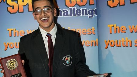 Adam Khaliq who won the Speak Out Challenge with his speech on Manners Maketh a Man.