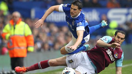 West Ham United's Joey O'Brien (right) and Everton's Kevin Mirallas (top) battle for the ball