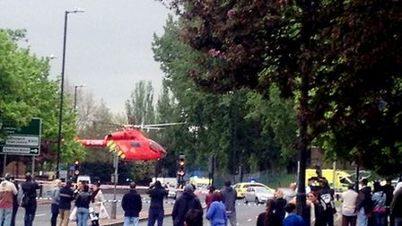 The scene in Woolwich where a soldier was killed. Picture: @Yusuf_Kayalar/PA Wire