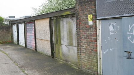 Some of the garages that will be demolished for houses to be built on the Briar Road Estate. Harold