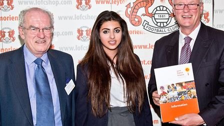 Samantha Vaknin is congratulated on her efforts at the MATCH awards ceremony by Saint Francis Hospic