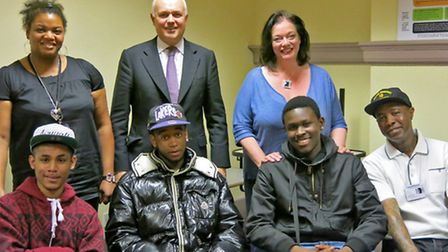 Jacqui Christopher, from Community Links, with Iain Duncan Smith MP, Lyn Brown MP, three participant