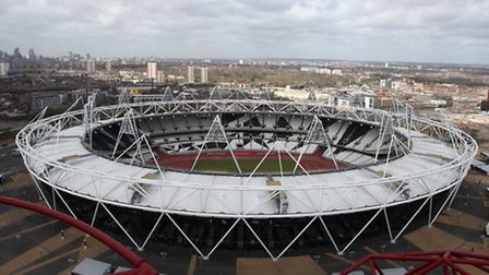 Views of the Olympic Stadium from the ArcelorMittal Orbit.