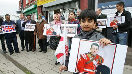 Association of British Muslims march from Barking to Ilford. Arham Ali, age9