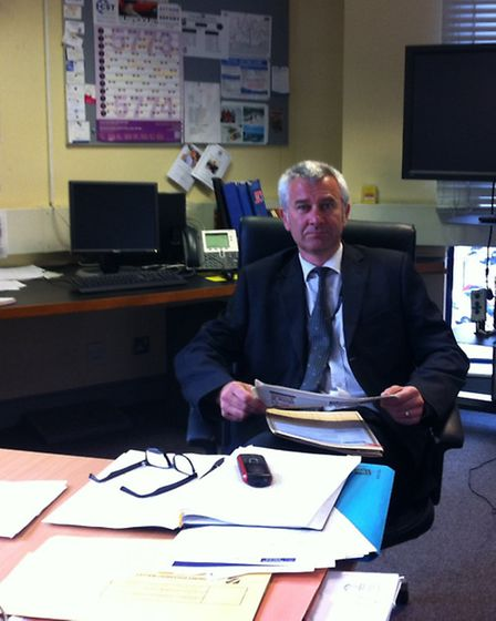 DCI Dave Rock in his office surrounded by files on the disappearance of Mary Flanagan.
