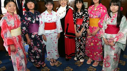 A group of 'Cultural Homestay' students from Japan meet mayor Cllr Lynden Thorpe