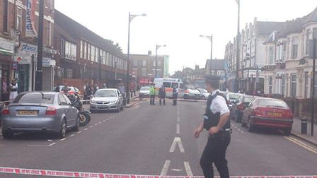 The crime scene on Upton Lane, Forest Gate. Picture: @mrjammyjamjar via Twitter
