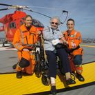 Gladys Hogg celebrates her 80th Birthday on the helipad on top of the Royal London Hospital in White
