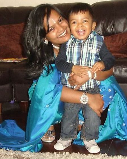 Jothi Sriskandapalan, pictured with her son Ajishan, was killed in a car crash outside Newbury Park