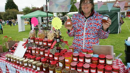 Susie Coles with her home made preserves for sale