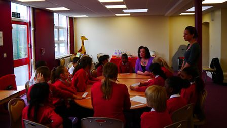 Lyn Brown MP answers questions from the Student Council at Star Primary School.