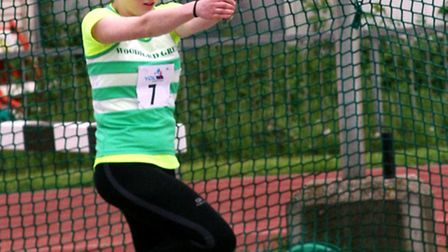 Woodford Greens Stephanie Howe shows fine form on her way to victory in the under-15 girls hammer