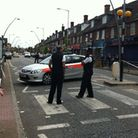 The police cordon close to The Co-operative Food store in Green Lane