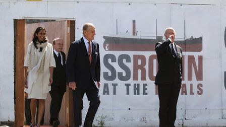The Duke of Edinburgh visits the SS Robin, east London most famous ship, at Royal Victoria Dock, New