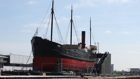 The Duke of Edinburgh visits the SS Robin's, east London most famous ship, at Royal Victoria Dock, N