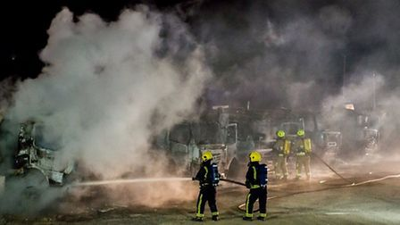 Firefighters tackled the blaze at Codham Hall Interchange, off M25, junction 29, on Sunday morning.