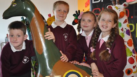 Children from R J Mitchell School, are one of the eight schools in the borough to design giraffes, w