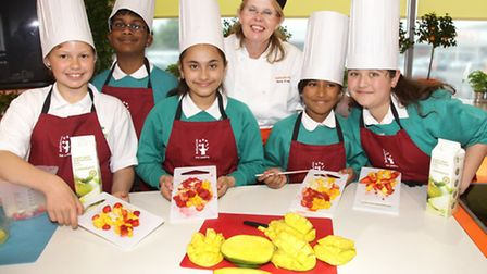 "Pupils from Gallions Primary School in Beckton taking part in a cooking demonstration in the ""˜What'"
