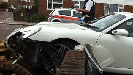 The car after hitting the wall in Chadwell Heath Lane