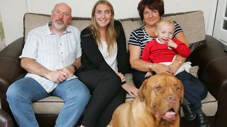 Barry with daughter Vicki, wife Helen, grandson Jesse and Louis the dog