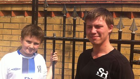 From left: Josh with his new hero Chris Spalding