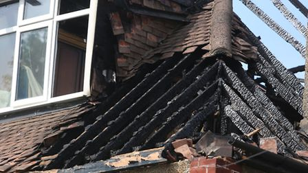 The roof of the building destroyed by fire.