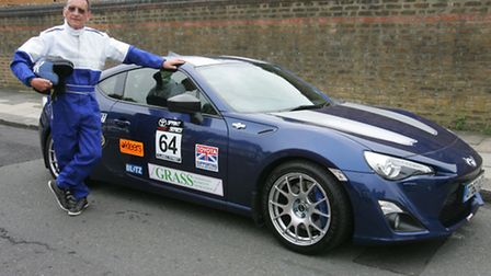 Residents association chairman Keith Stanbury with his race car